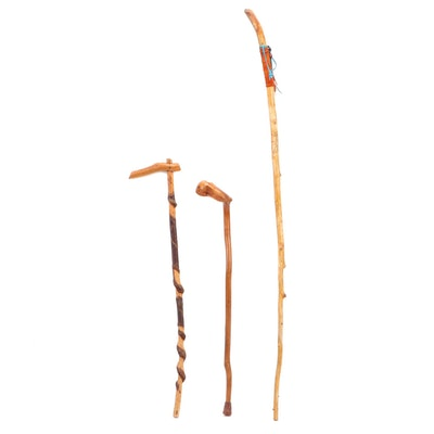 Southwestern Hand Carved Wooden Walking Stick and Other Canes