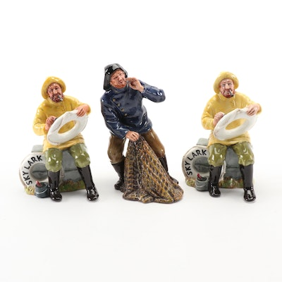 "Royal Doulton ""The Boatman"" and ""Sea Harvest"" Ceramic Figurines"