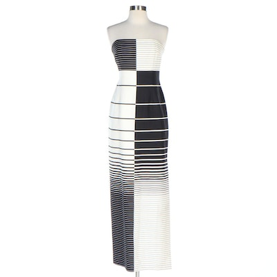 David Meister Black and White Graduating Stripe Silk Strapless Dress