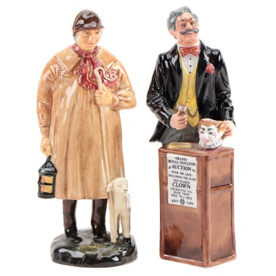 "Royal Doulton ""The Auctioneer"" and ""The Shepherd"" Ceramic Figurines"