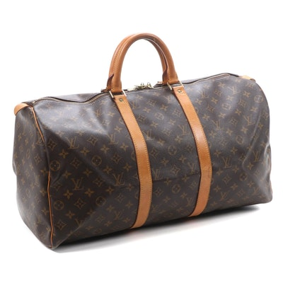 Louis Vuitton Keepall 50 Duffel in Monogram Canvas and Vachetta Leather