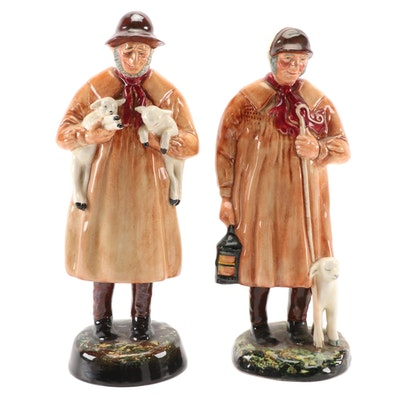 "Royal Doulton ""The Shepherd"" and ""Lambing Time"" Ceramic Figurines"