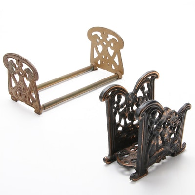 Art Nouveau Brass Book Rack and Bronze Nude Motif Letter Holder, Early 20th C.
