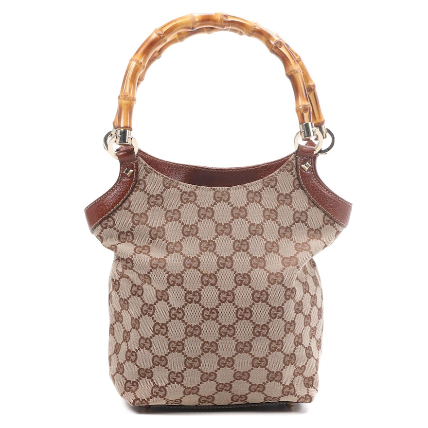 Gucci GG Canvas Bamboo and Studded Textured Leather Handbag