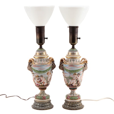 Neoclassical Style Italian Porcelain Putti Angel Lamps, Mid-20th Century