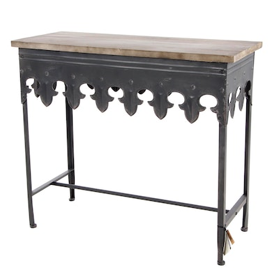 CreativeCo-Op Gothic Style Metal and Wood Side Table