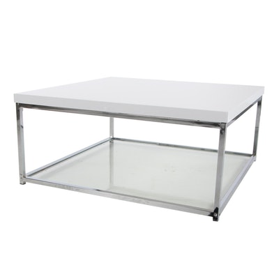 "Safavieh ""Malone"" Chrome, Glass and White Laminate Top Coffee Table"