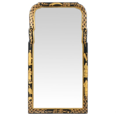Chinese Hand-Painted Gilt Ebonized Wood Wall Mirror