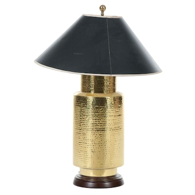 Hammered Brass Table Lamp, Mid-20th Century