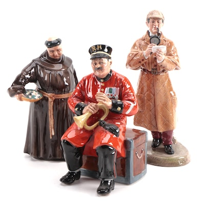 "Royal Doulton Ceramic Figurines Including ""The Detective"" and ""The Jovial Monk"""