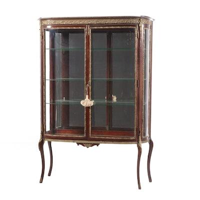 Louis XV Style Mahogany and Brass Ormolu Vitrine Cabinet