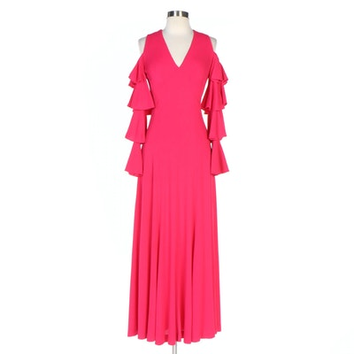 Mr. Boots Pink Cold Shoulder and Ruffle Sleeve V-Neck Maxi Dress