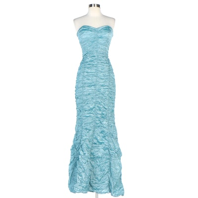 Nicole Miller Collection Ruched Aqua Blue Crinkle Strapless Gown