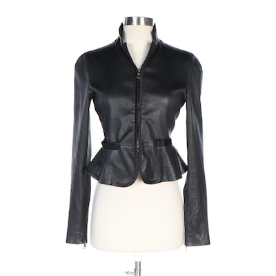 Prada Black Leather Peplum Crop Jacket with Satin Trim