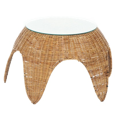 Rattan Glass Topped Side Table
