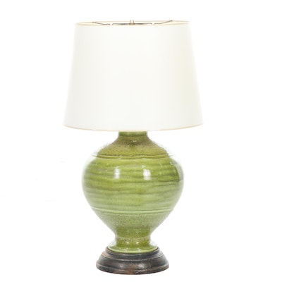 Large Green Ceramic Table Lamp, Mid-20th Century
