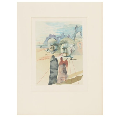 "Salvador Dalí Wood Engraving ""Avarice et Prodigalité,"" 1960 - 1964"