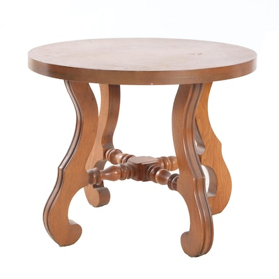 Pecan End Table with Scroll Legs, Mid-20th Century