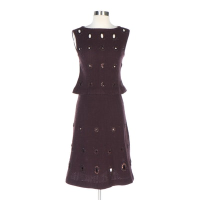 Chanel Embellished Cutout Brown Wool Sleeveless Two-Piece Skirt Set