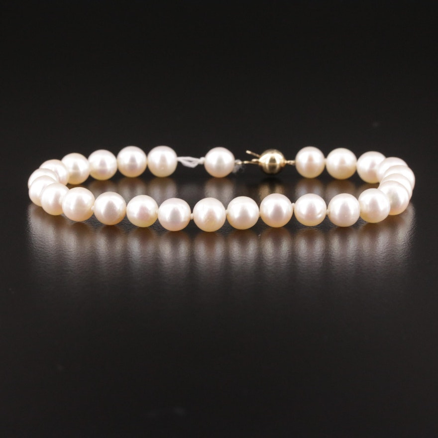 Cultured Pearl Bracelet With 14K Clasp