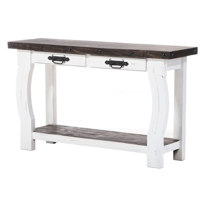 Farmhouse Style Painted Wood Console Table