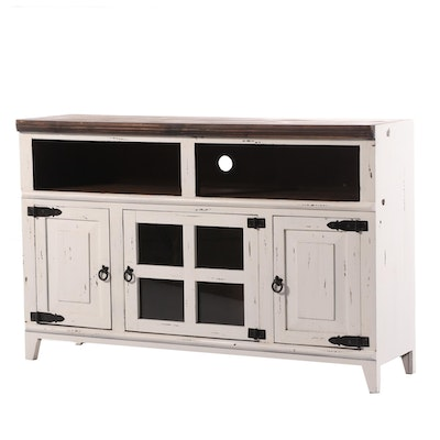 Farmhouse Style Painted Wood Media Cabinet
