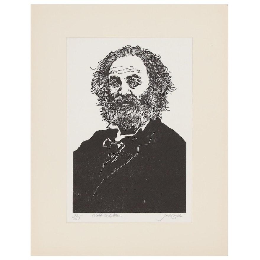 "Jack Caughlin Wood Block Print ""Walt Whitman,"" 20th Century"