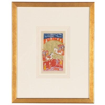 Indian Miniature Painting Manuscript Leaf, Late 18th Century