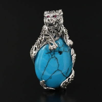 Sterling Silver Turquoise, Ruby, and Marcasite Panther Pendant
