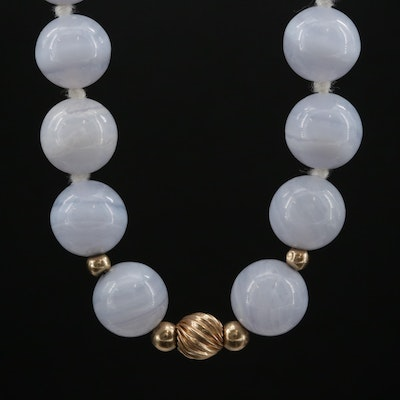 14K Lace Agate Bead Necklace