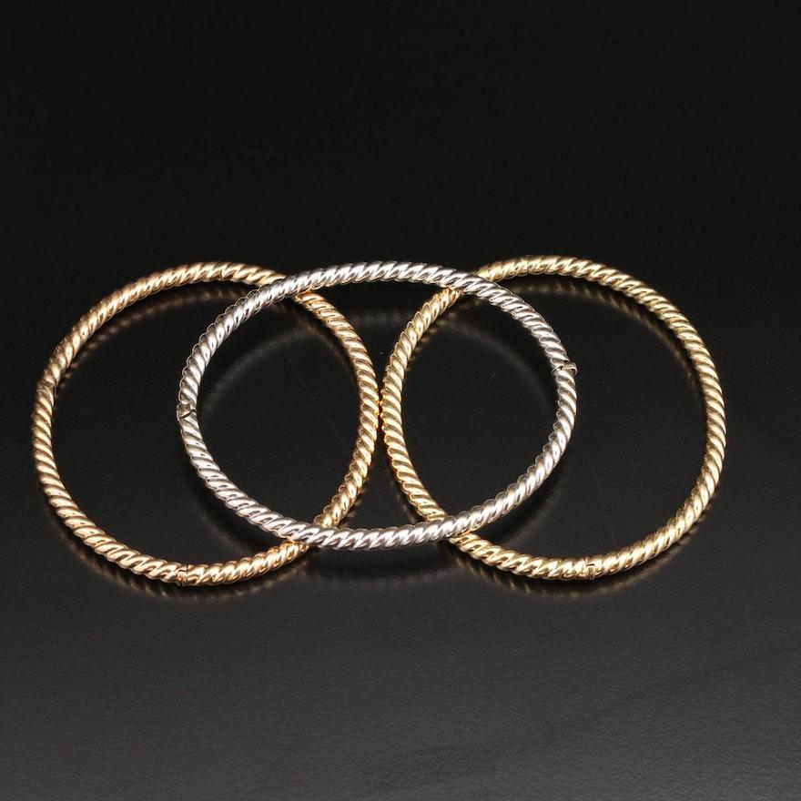 18K Gold Hinged Twisted Bangle Bracelets