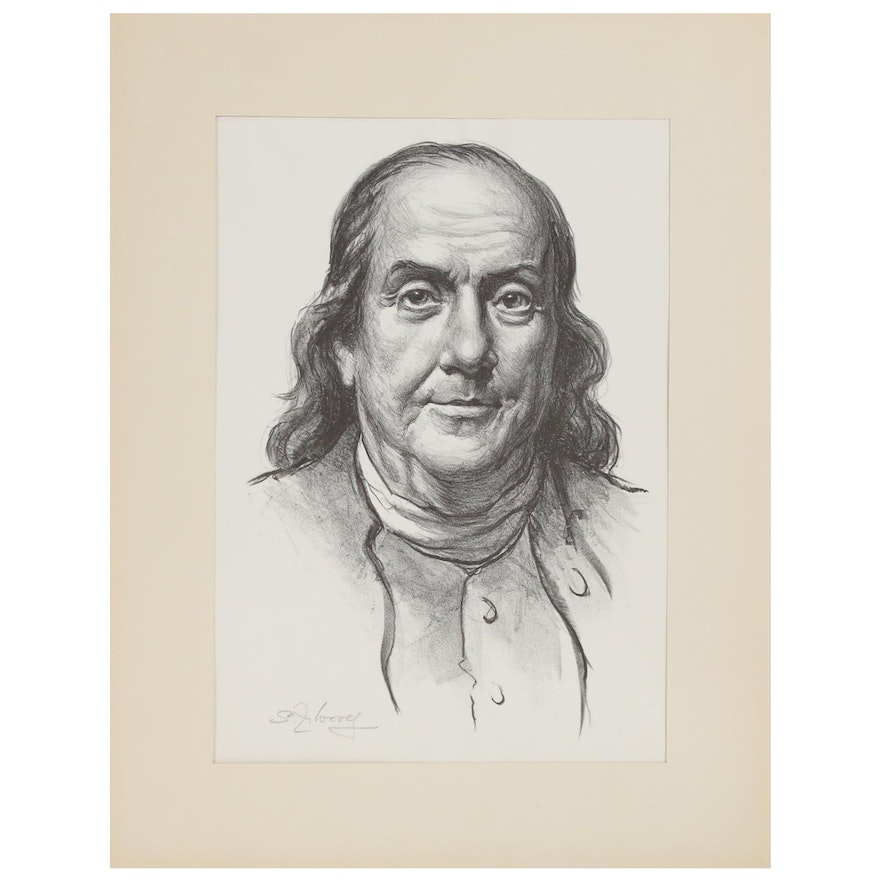 "S. J. Woolf Lithograph ""Benjamin Franklin,"" 1947"