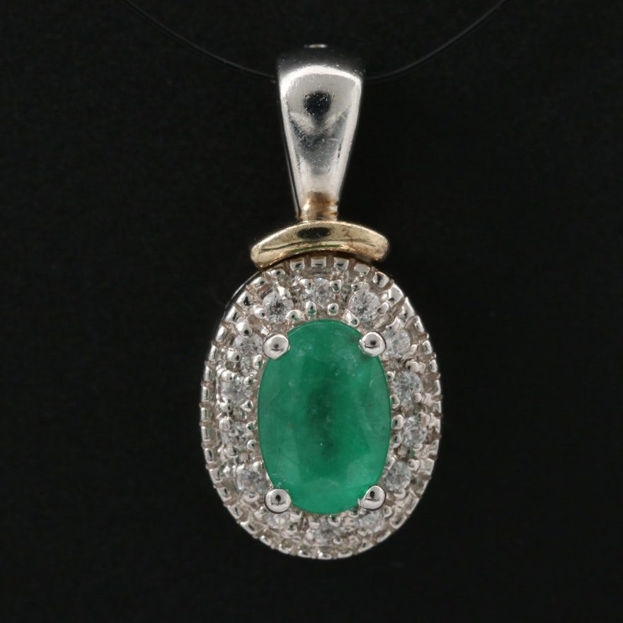 Sterling Silver Emerald and Cubic Zirconia Pendant