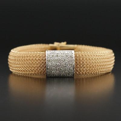 Vancox 18K Pavé Diamond Mesh Bracelet