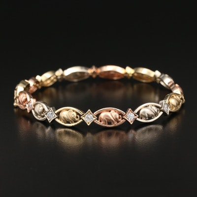 14K Tri-Color gold Cubic Zirconia Elephant Link Bracelet