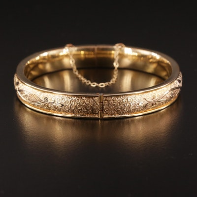 Vintage Hinged Bangle Bracelet Engraved with Floral Motif