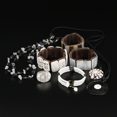 Moonstone, Shell and Imitation Hematite Jewelry Collection