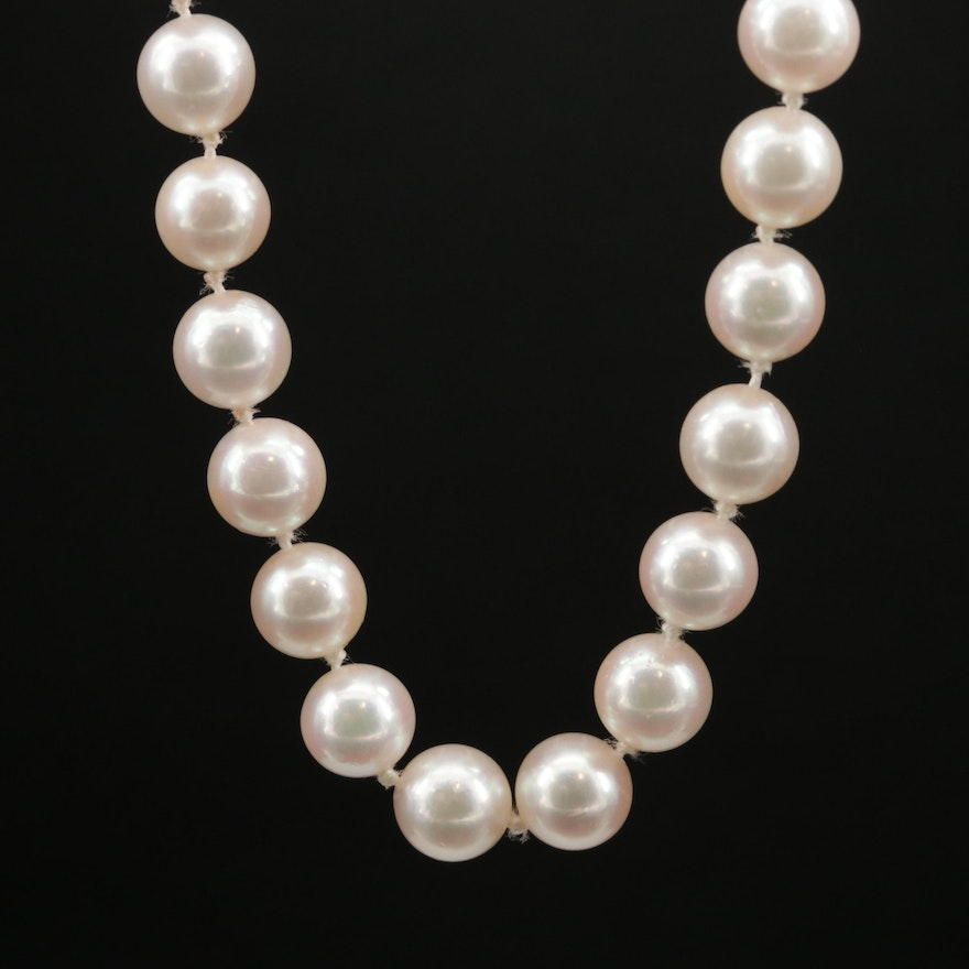 Opera Length Pearl Necklace with 14K Gold Clasp