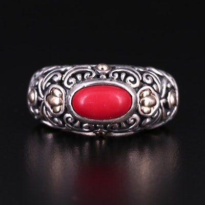 Balinese Style Sterling Silver Coral Ring with 18K Yellow Gold Accents