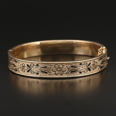 Vintage Gold Filled Hinged Bracelet with Enamel Design