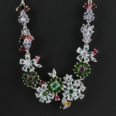 Sterling Silver Aquamarine, Emerald and Diopside Floral Motif Necklace