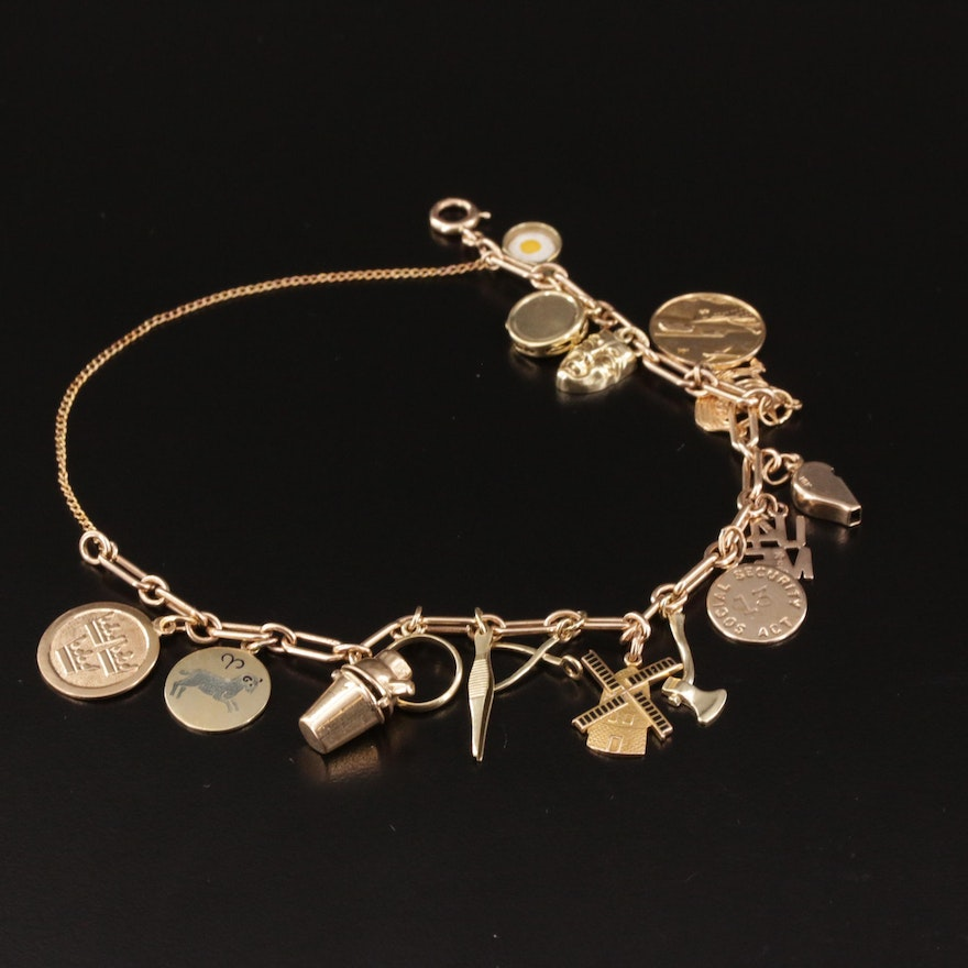 Vintage 14K Charm Bracelet with 10K and 18K Charms and Enamel