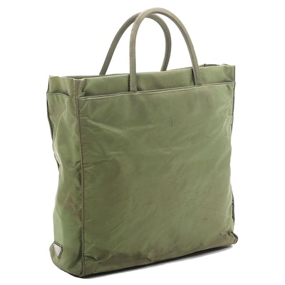 Prada Shopper Tote in Green Tessuto Nylon