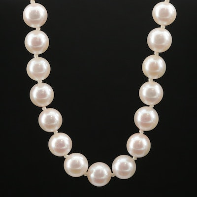Matinee Length Pearl Necklace with 14K Gold Clasp