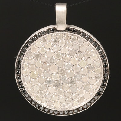 18K 2.71 CTW Diamond and Black Diamond Circular Pendant