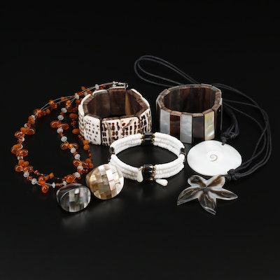 Collection of Jewelry Including Faux Hematite Bracelet