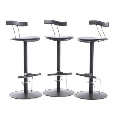 Three Modern Pedestal Barstools