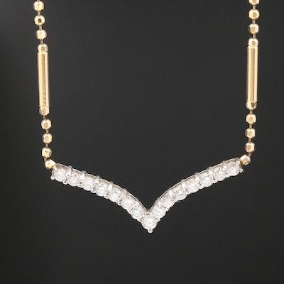14K Diamond Stationary Chevron Pendant Necklace