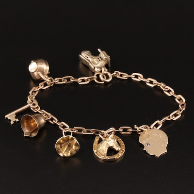 Vintage 10K Charm Bracelet with 9K, 14K and Topaz
