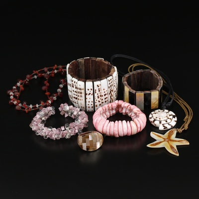 Collection of Jewelry Including Panel Bracelets and Beaded Necklace